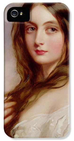 Playful iPhone 5 Cases - A young girl in a white dress iPhone 5 Case by Richard Buckner