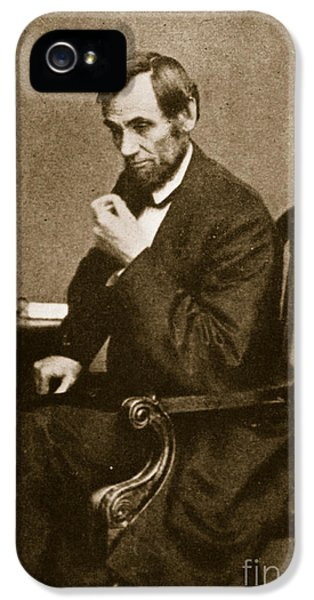 President Of The United States iPhone 5 Cases - Abraham Lincoln Sitting at Desk iPhone 5 Case by Mathew Brady