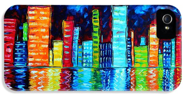 Abstract Art Landscape City Cityscape Textured Painting City Nights II By Madart IPhone 5 / 5s Case by Megan Duncanson