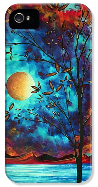 Whimsy iPhone 5 Cases - Abstract Art Landscape Tree Blossoms Sea Moon Painting VISIONARY DELIGHT by MADART iPhone 5 Case by Megan Duncanson