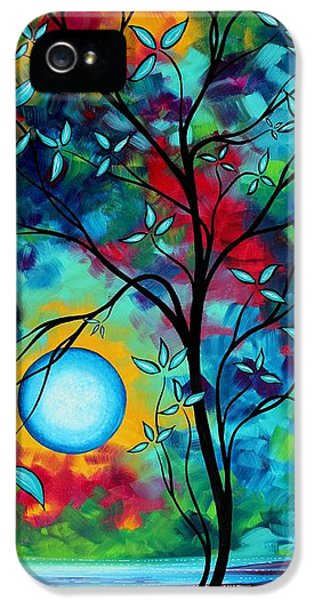 Whimsy iPhone 5 Cases - Abstract Art Landscape Tree Blossoms Sea Painting UNDER THE LIGHT OF THE MOON I  by MADART iPhone 5 Case by Megan Duncanson