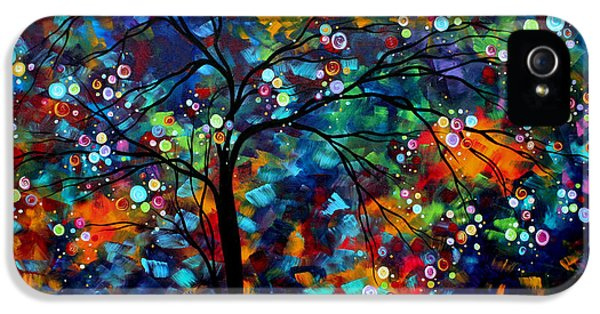 Whimsy iPhone 5 Cases - Abstract Art Original Landscape Painting Bold Colorful Design SHIMMER IN THE SKY by MADART iPhone 5 Case by Megan Duncanson