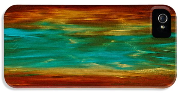 Copper iPhone 5 Cases - Abstract Landscape Art - Fire Over Copper Lake - By Sharon Cummings iPhone 5 Case by Sharon Cummings