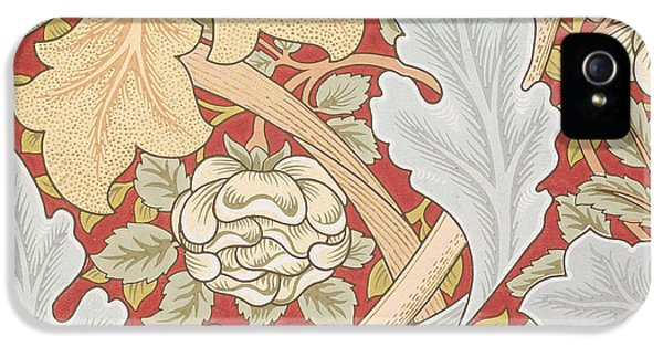 Arts And Crafts Movement iPhone 5 Cases - Acanthus Leaves Wild Rose on Crimson Background iPhone 5 Case by William Morris
