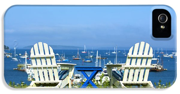 Harbor iPhone 5 Cases - Adirondack Chairs Overlooking the Ocean iPhone 5 Case by Diane Diederich