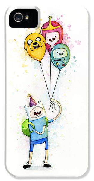 Balloon iPhone 5 Cases - Adventure Time Finn with Birthday Balloons Jake Princess Bubblegum BMO iPhone 5 Case by Olga Shvartsur