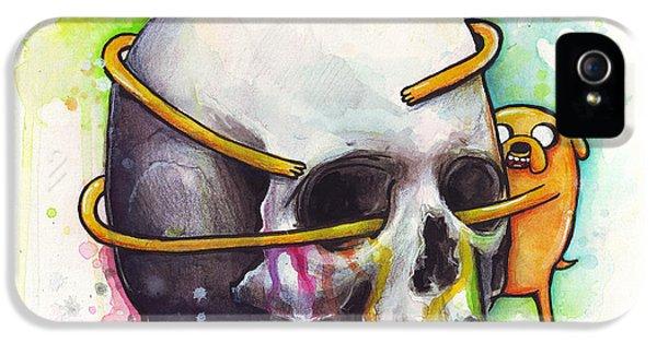 Horror iPhone 5 Cases - Adventure Time Jake Hugging Skull Watercolor Art iPhone 5 Case by Olga Shvartsur
