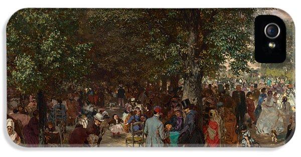 Fin De Siecle iPhone 5 Cases - Afternoon in the Tuileries Gardens iPhone 5 Case by Adolph Friedrich Erdmann von Menzel
