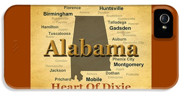 Alabama iPhone 5 Cases - Aged Alabama State Pride Map Silhouette  iPhone 5 Case by Keith Webber Jr