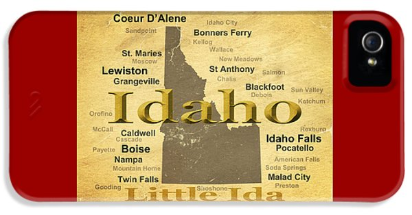 Moscow iPhone 5 Cases - Aged Idaho State Pride Map Silhouette  iPhone 5 Case by Keith Webber Jr