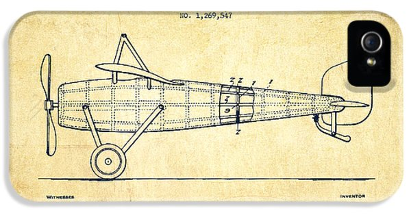 Airplane Patent Drawing From 1918 - Vintage IPhone 5 / 5s Case by Aged Pixel