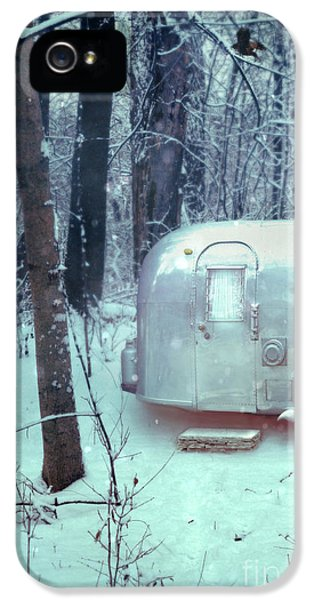 Trailer iPhone 5 Cases - Airstream Trailer in Snowy Woods iPhone 5 Case by Jill Battaglia