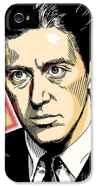 Al Pacino iPhone 5 Cases - Al Pacino as Michael Corleone Pop Art iPhone 5 Case by Jim Zahniser