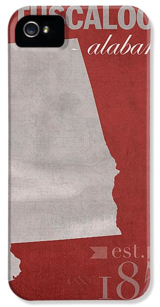 Alabama iPhone 5 Cases - Alabama Crimson Tide Tuscaloosa College Town State Map Poster Series No 008 iPhone 5 Case by Design Turnpike