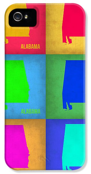 Alabama iPhone 5 Cases - Alabama Pop Art Map 1 iPhone 5 Case by Naxart Studio