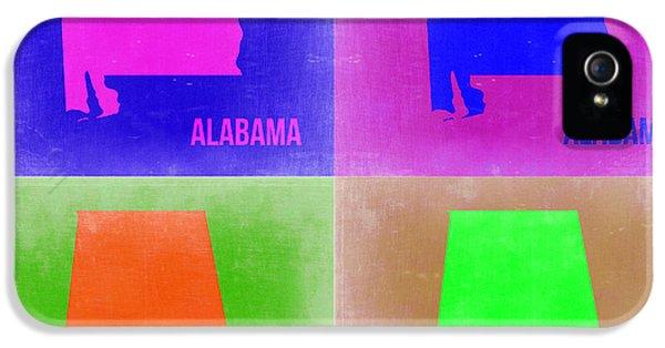Alabama iPhone 5 Cases - Alabama Pop Art Map 2 iPhone 5 Case by Naxart Studio