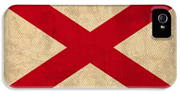 Alabama iPhone 5 Cases - Alabama State Flag Art on Worn Canvas iPhone 5 Case by Design Turnpike