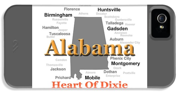 Alabama iPhone 5 Cases - Alabama State Pride Map Silhouette  iPhone 5 Case by Keith Webber Jr