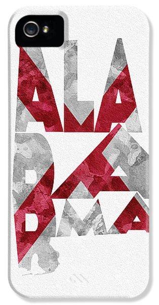 Alabama iPhone 5 Cases - Alabama Typographic Map Flag iPhone 5 Case by Ayse Deniz