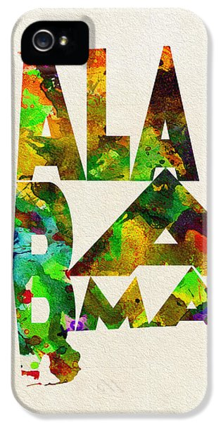 Alabama iPhone 5 Cases - Alabama Typographic Watercolor Map iPhone 5 Case by Ayse Deniz