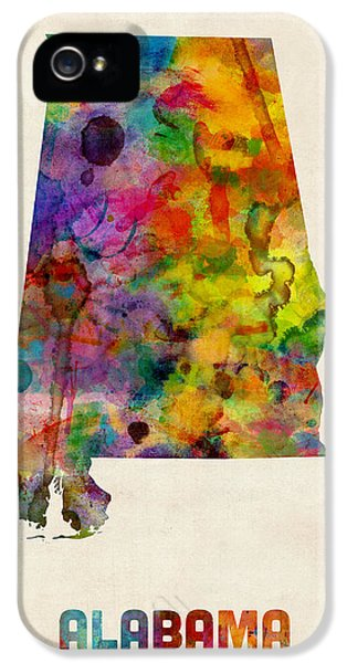Alabama iPhone 5 Cases - Alabama Watercolor Map iPhone 5 Case by Michael Tompsett