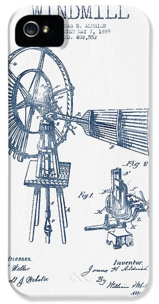 Windmill iPhone 5 Cases - Aldrich Windmill Patent Drawing From 1889 - Blue Ink iPhone 5 Case by Aged Pixel