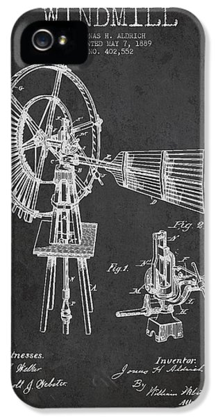 Windmill iPhone 5 Cases - Aldrich Windmill Patent Drawing From 1889 - Dark iPhone 5 Case by Aged Pixel