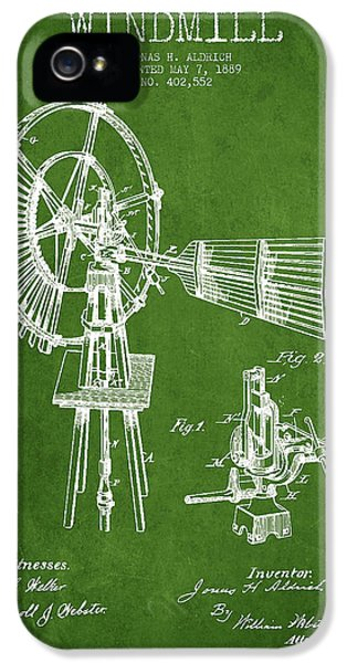Windmill iPhone 5 Cases - Aldrich Windmill Patent Drawing From 1889 - Green iPhone 5 Case by Aged Pixel