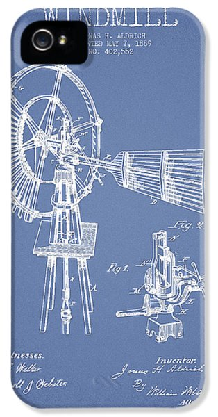 Windmill iPhone 5 Cases - Aldrich Windmill Patent Drawing From 1889 - Light Blue iPhone 5 Case by Aged Pixel