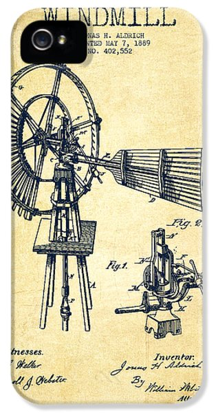 Windmill iPhone 5 Cases - Aldrich Windmill Patent Drawing From 1889 - Vintage iPhone 5 Case by Aged Pixel