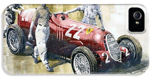 Alfa Romeo iPhone 5 Cases - Alfa Romeo 12C-36 Tazio Nuvolari Coppa Ciano race 1937 iPhone 5 Case by Yuriy  Shevchuk