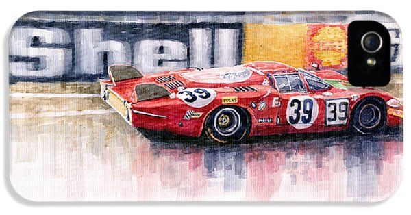 Alfa Romeo iPhone 5 Cases - Alfa Romeo T33 B2 Le Mans 24 1968 Galli Giunti iPhone 5 Case by Yuriy  Shevchuk