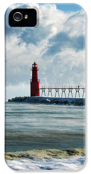 Lake Michigan iPhone 5 Cases - Algoma Pierhead Lighthouse iPhone 5 Case by Christopher Arndt