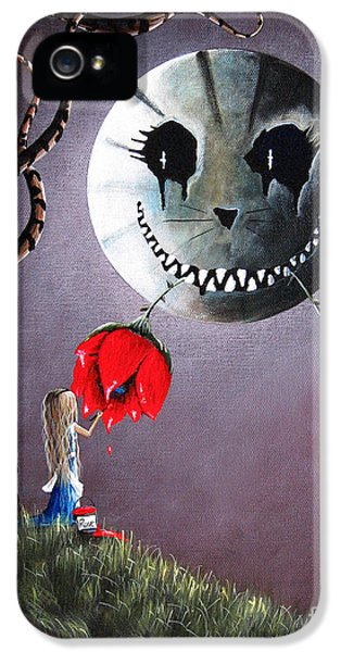 Men In Black iPhone 5 Cases - Alice In Wonderland Original Artwork - Alice And The Dripping Rose iPhone 5 Case by Shawna Erback