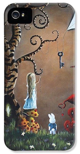 White Flowers iPhone 5 Cases - Alice In Wonderland Original Artwork - Key To Wonderland iPhone 5 Case by Shawna Erback