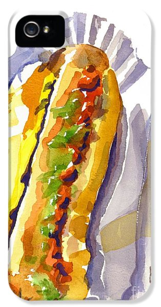 Hotdog iPhone 5 Cases - All Beef Ballpark Hot Dog with the Works to Go in Broad Daylight iPhone 5 Case by Kip DeVore