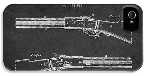 Rifle iPhone 5 Cases - Alston Firearm Patent Drawing from 1887- Dark iPhone 5 Case by Aged Pixel