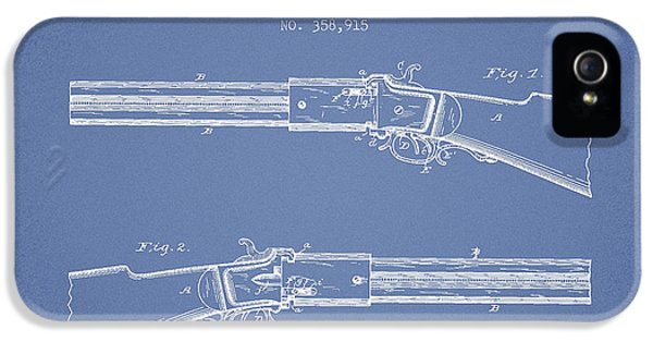 Rifle iPhone 5 Cases - Alston Firearm Patent Drawing from 1887- Light Blue iPhone 5 Case by Aged Pixel