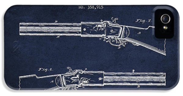 Rifle iPhone 5 Cases - Alston Firearm Patent Drawing from 1887- Navy Blue iPhone 5 Case by Aged Pixel