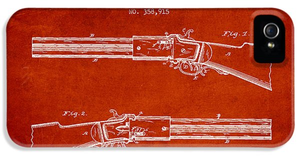 Rifle iPhone 5 Cases - Alston Firearm Patent Drawing from 1887- Red iPhone 5 Case by Aged Pixel