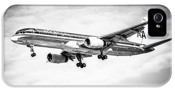 Commercial iPhone 5 Cases - Amercian Airlines 757 Airplane in Black and White iPhone 5 Case by Paul Velgos