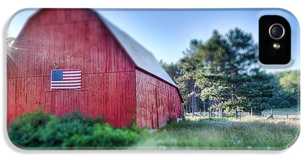 American Flag iPhone 5 Cases - American Barn iPhone 5 Case by Sebastian Musial