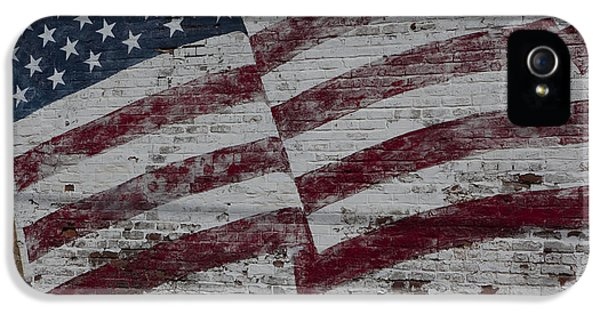 Build iPhone 5 Cases - American flag painted on brick wall iPhone 5 Case by Keith Kapple