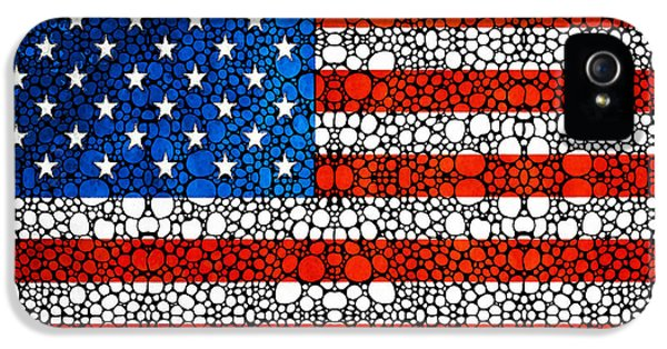 Us Flag iPhone 5 Cases - American Flag - USA Stone Rockd Art United States Of America iPhone 5 Case by Sharon Cummings
