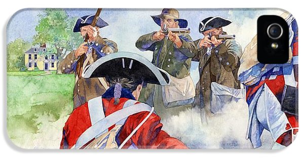 American Revolution iPhone 5 Cases - American Militiamen at Lexington iPhone 5 Case by Matthew Frey