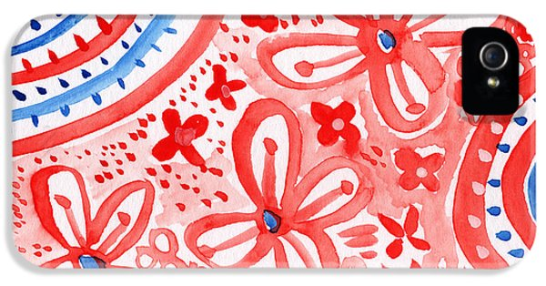 Red White And Blue iPhone 5 Cases - Americana Celebration- painting iPhone 5 Case by Linda Woods