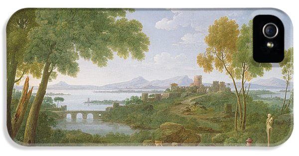 Classical iPhone 5 Cases - An Extensive Italianate Landscape With A Sacrifice, 1728 Oil On Canvas iPhone 5 Case by Hendrik van Lint