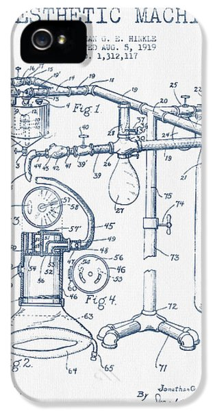 Hospital iPhone 5 Cases - Anesthetic Machine patent from 1919 - Blue Ink iPhone 5 Case by Aged Pixel