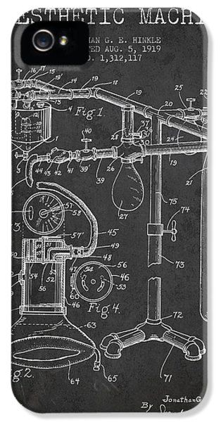 Diagram iPhone 5 Cases - Anesthetic Machine patent from 1919 - Dark iPhone 5 Case by Aged Pixel