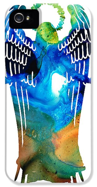 Protection iPhone 5 Cases - Angel of Light - Spiritual Art Painting iPhone 5 Case by Sharon Cummings